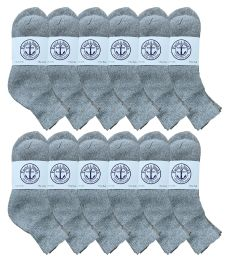 300 Units of Yacht & Smith Mens Lightweight Cotton Sport Gray Quarter Ankle Socks, Sock Size 10-13 - Mens Ankle Sock