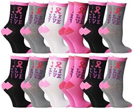 12 Units of Pink Ribbon Breast Cancer Awareness Assorted Ankle Socks For Women (Size 9-11) - Breast Cancer Awareness Socks