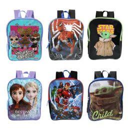 "24 Units of 15"" Kids Assorted Character Print Wholesale Backpacks - Backpacks 17"""