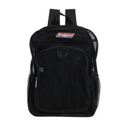 "24 Units of 17"" Black Mesh Backpacks - Backpacks 17"""