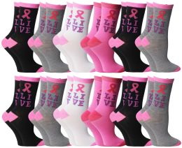 240 Units of Yacht & Smith Pink Ribbon Live Breast Cancer Awareness Crew Socks For Women - Women's Socks for Homeless and Charity