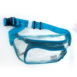 24 Units of Fanny Packs Clear Transparent Waist Travel Packs in Turquoise - Fanny Pack