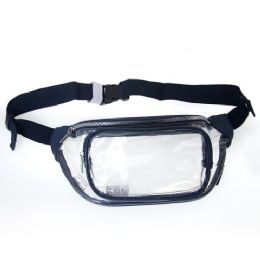 24 Units of Fanny Packs Clear Transparent Waist Travel Packs in Navy - Fanny Pack