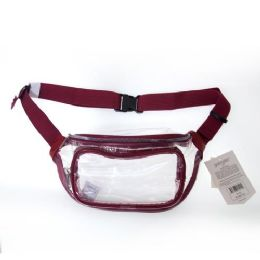 24 Units of Fanny Packs Clear Transparent Waist Travel Packs in Maroon - Fanny Pack