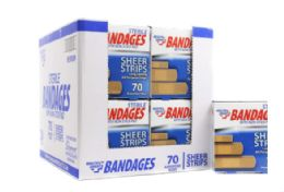 72 Units of Bandages 70 Count Plastic - Bandages and Support Wraps