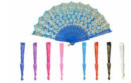 60 Units of Folding Fan Floral Metallic - Novelty Toys