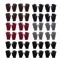 96 Bulk 96 Pack - Wholesale Unisex Winter Gloves in 5 Assorted Colors
