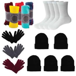 12 Bulk Care Package Supplies - Bulk Case of 12 Glove Pairs, 12 Socks, 12 Winter Throw Blankets, 12 Beanies