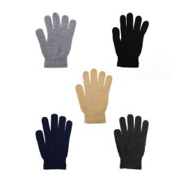 12 Units of Winter Gloves in 5 Assorted Colors - Cold Weather Case of 48 Glove Pairs - Winter Gloves