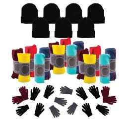 12 Bulk Case of 12 Gloves, 12 Winter Throw Blankets, 12 Beanies - Wholesale Care Packages