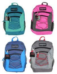 "12 Units of 18"" Premium Bungee Backpacks w/ 3 Pockets & Mesh Side Pockets - Backpacks 17"""