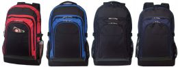 12 Units of Outdoor Computer Backpack w/ Leather Like Trim - Backpacks