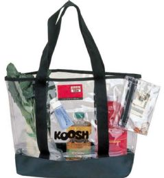 "24 Units of 20"" Clear Tote Bags w/Black Trim - Tote Bags & Slings"