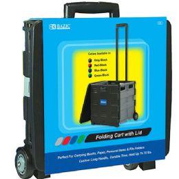 "3 Wholesale 16""X18""X15"" Black Folding Cart On Wheels w/Lid Cover"