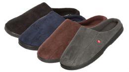 24 Units of Men's Suede Slide Slippers w/ Side Crest - Men's Slippers