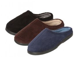 24 Units of Men's Plush Slide Slippers - Solid Colors - Men's Slippers