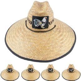 12 Units of Wide Brim Raffia Straw Lightweight Rooster Embroidered Man Sun Hat - Sun Hats