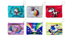 72 Units of Holographic Zipper Pouch Unicorn - Coin Holders & Banks