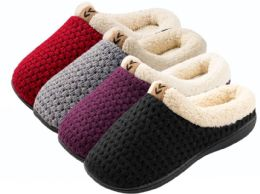 36 of Girl's Knit Clog Slippers w/ Sherpa Trim - Assorted Colors
