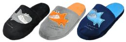 48 Units of Boy's Terry Cloth Mule Slippers w/ Shark Adornment & Soft Footbed - Boys Slippers