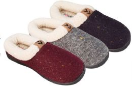 36 of Girl's Knit Clog Slippers w/ Sherpa Trim & Patch Embelishment