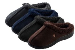 36 Units of Boy's Suede Clog Slippers w/ Sherpa Trim - Boys Slippers