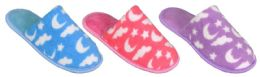 36 of Girl's Terry Cloth Mule Slippers w/ Night Sky Patterns