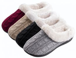 36 of Girl's Cable Knit Clog Slippers w/ Faux Fur Lining