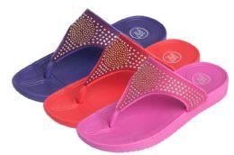 36 of Girl's Flip Flops w/ Rhinestone Embellishments