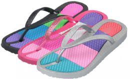 36 of Girl's Flip Flops w/ Multicolor Insoles