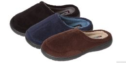 36 Units of Boy's Plush Slide Slippers - Solid Colors - Boys Slippers