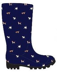 12 Units of Women's Printed Jelly Rain Boots - Navy Blue w/ Dog Graphics - Women's Boots