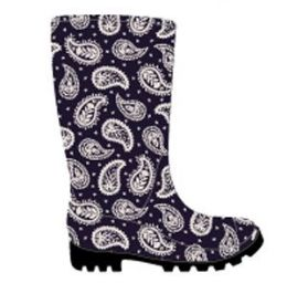 12 Units of Women's Printed Jelly Rain Boots w/ Paisley Pattern Print - Navy - Women's Boots