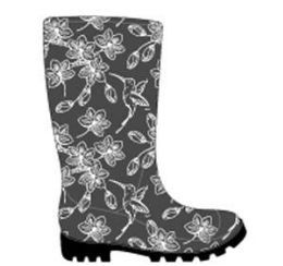 12 Units of Women's Printed Jelly Rain Boots w/ Floral & Hummingbird Print - Dark Grey - Women's Boots