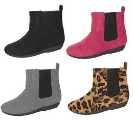 24 Units of Girl's Micro suede Chelsea Ankle Boots - Solid Colors & Leopard Print - Women's Boots