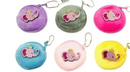 72 Units of Plush Coin Purse Princess Elephant - Coin Holders & Banks