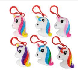 96 Wholesale Plush Unicorn Keychain