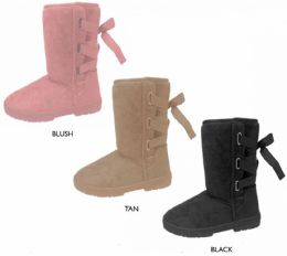 """12 Units of Women's 9"""" Microsuede Winter Boots w/ Back Laces & Ribbon - Women's Boots"""