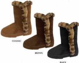 "12 Units of Women's 9"" Microsuede Winter Boots w/ Leopard Faux Fur Trim - Women's Boots"