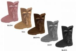 """12 Units of Women's 10"""" Microsuede Winter Boots w/ Faux Fur Trim & Bow - Women's Boots"""