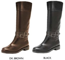 12 Units of Women's Tall Boots w/ Contrast Stitching & Buckle Straps - Women's Boots
