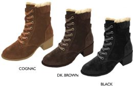 12 Units of Women's Faux Suede Lace Up Boots w/ Block Heel & Faux Fur Lining - Women's Boots