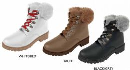 12 Units of Women's Hiker Boots w/ Colorful Faux Fur Cuffs & Tongue - Women's Boots