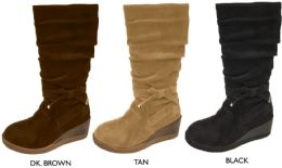12 Units of Girl's Tall Wedge Microsuede Slouch Boots w/ Bow - Women's Boots
