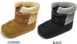18 Units of Infant Boy's Microsuede Boot w/ Faux Fur Trim & Velcro Straps - Boys Boots