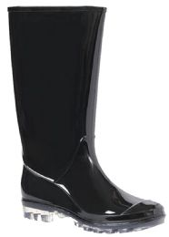 12 Units of Women's Tall Black Patent Leather Rain Boots w/ Clear Sole - Women's Boots