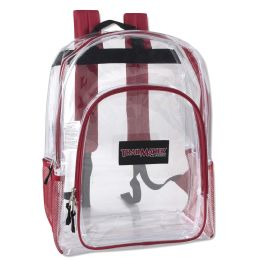 """24 Units of Deluxe 17 Inch Clear Backpack - Red - Backpacks 17"""""""