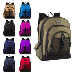 """24 Units of 17"""" Multi Compartment Bulk Backpacks in 5 Assorted Colors - Backpacks 17"""""""