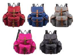 "24 Units of 16"" Bulk Travel Backpacks in 5 Assorted Colors - Backpacks 16"""