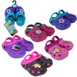 36 of Toddler Girl's Two-Tone Clogs w/ Flower & Unicorn Patches